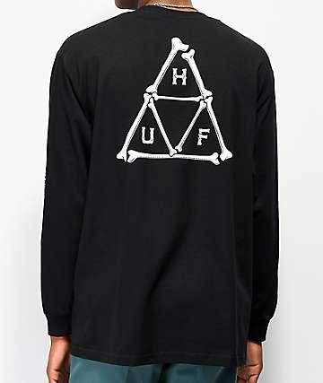 HUF Boned Triple Triangle camiseta negra de manga larga