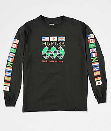 HUF Boys Global Domination Black Long Sleeve T-Shirt