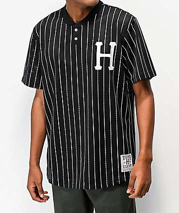 HUF Bronx Black & White Henley Mesh Baseball Jersey