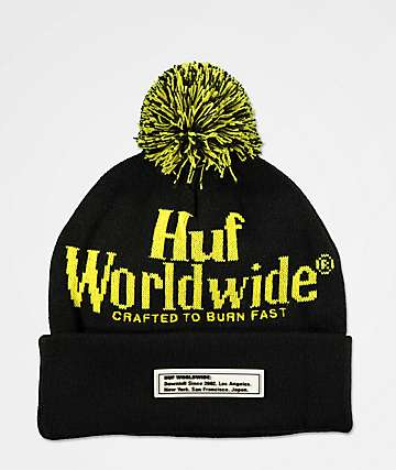 HUF Burn Fast Black & Yellow Pom Beanie