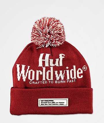 HUF Burn Fast Poppy Red & White Pom Beanie