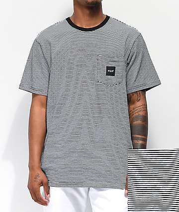 HUF Carson camiseta negra de rayas con bolsillo