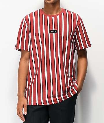 HUF Dexter camiseta de punto rojo y blanco de rayas
