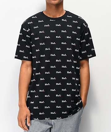 HUF Flower Shop Allover Print camiseta negra