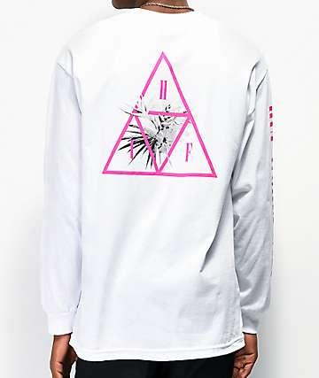 HUF Jungle Triple Triangle camiseta blanca de manga larga