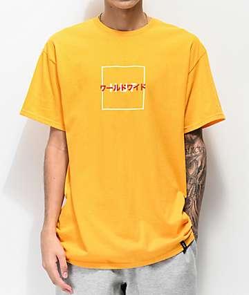 HUF Katana Box Logo camiseta dorada