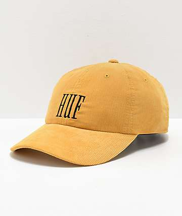 HUF Marka Yellow Corduroy Strapback Hat