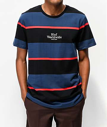 HUF Mazon Blue & Black Striped Knit T-Shirt