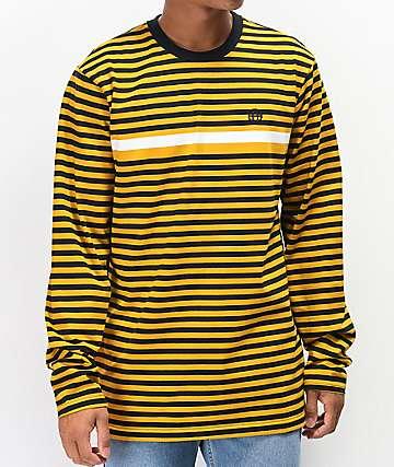 HUF Morris camiseta de manga larga dorada de rayas