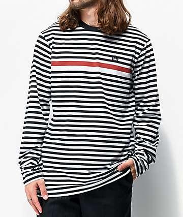 HUF Morris camiseta negra de manga larga de rayas