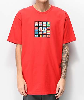 HUF Nations Box Logo Red T-Shirt
