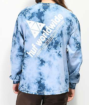 HUF Peak Logo Script camiseta azul de manga larga