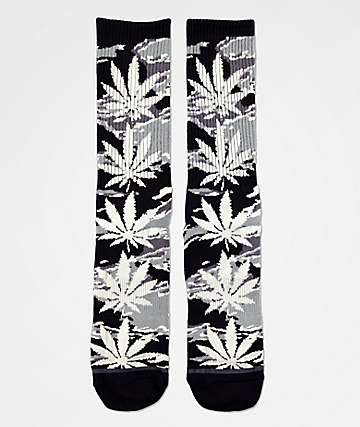 HUF Plantlife Black & Grey Camo Crew Socks