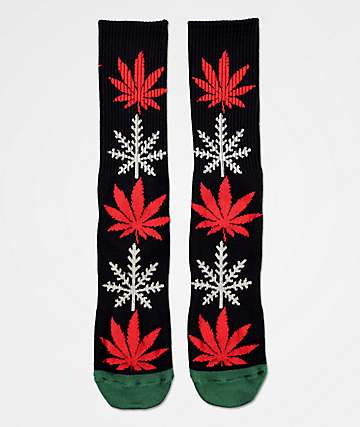 HUF Plantlife Glow-Flake Black Crew Socks