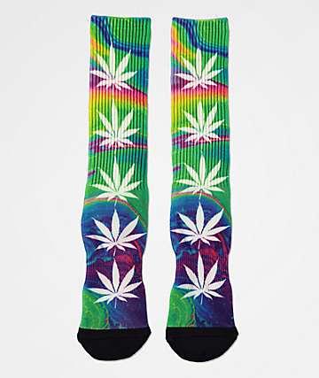 HUF Plantlife Good Trip calcetines de tie dye verde