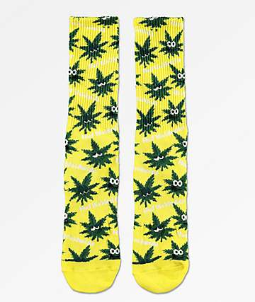 HUF Plantlife Green Buddies 2 Yellow Crew Socks