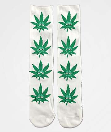 HUF Plantlife Green Buddy White Crew Socks