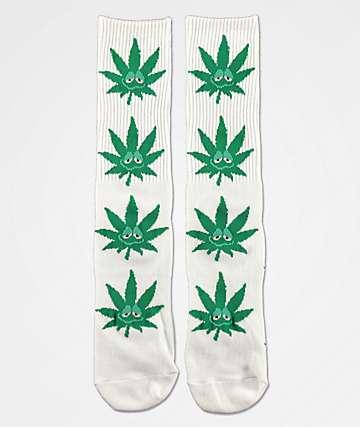 HUF Plantlife Green Buddy calcetines blancos