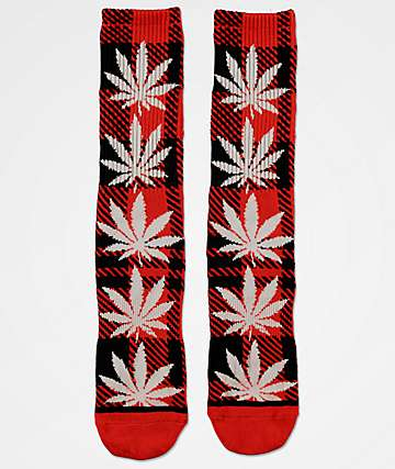 HUF Plantlife Plaid Poppy Red Crew Socks