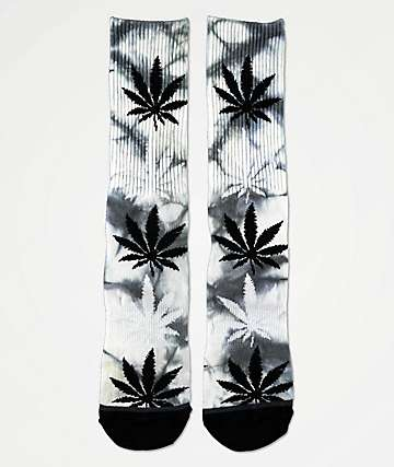 HUF Plantlife Tie Dye Black & White Crew Socks