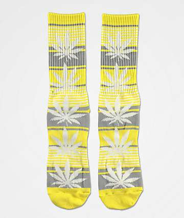 HUF Plantlife Yellow & Grey Striped Crew Socks