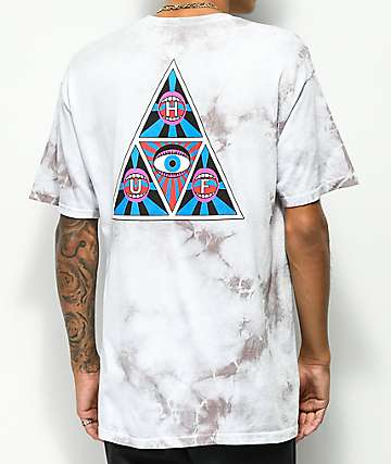 HUF Psycho Neo Triangle White Crystal Wash T-Shirt