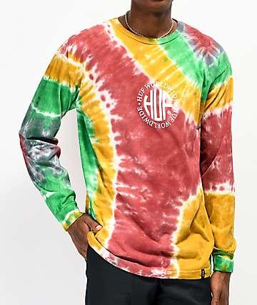 HUF Regional camiseta tie dye de manga larga roja, amarilla y verde