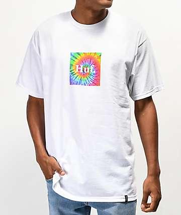 HUF Tie Dye Box Logo White T-Shirt