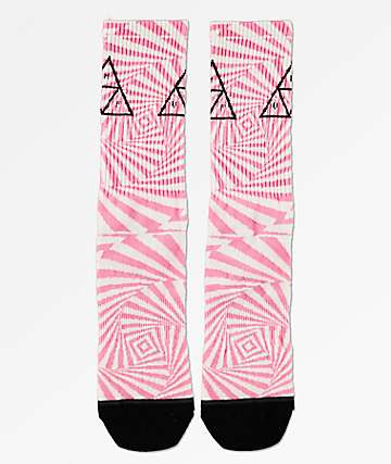 HUF Trance Triangle White, Fuchsia & Black Crew Socks