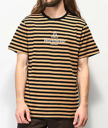 HUF Triple Triangle Black & Tan Stripe Knit Shirt