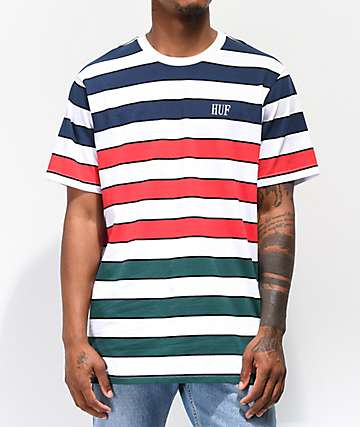 HUF Variant Striped White Knit T-Shirt
