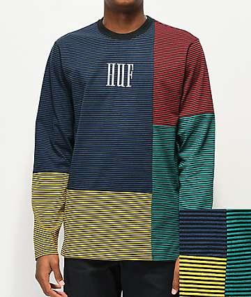 HUF Vilmos camiseta de manga larga azul, verde y amarilla de rayas