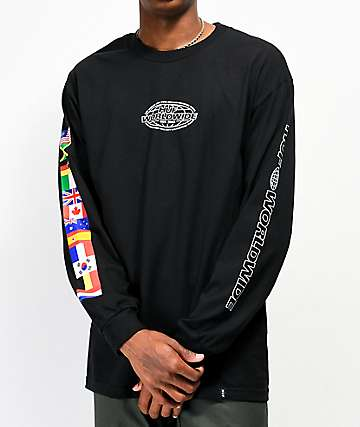HUF World Tour camiseta negra de manga larga