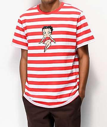 HUF x Betty Boop camiseta roja y blanca de rayas