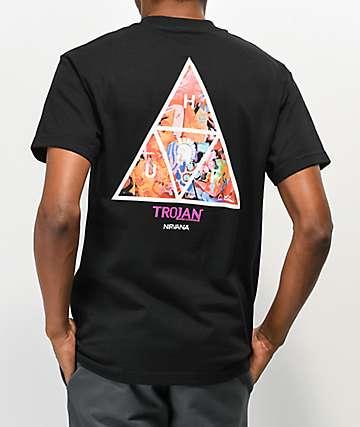 HUF x Trojan Nirvana camiseta negra
