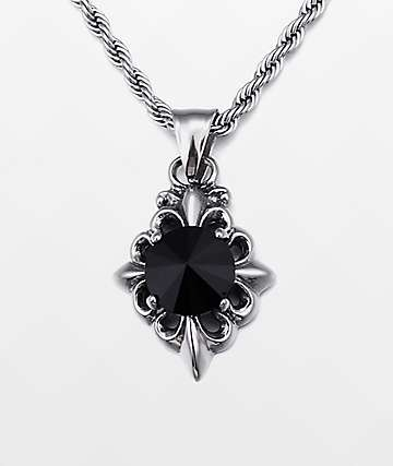 "Half Hearted Onyx Pendant 22"" Rope Chain Necklace"