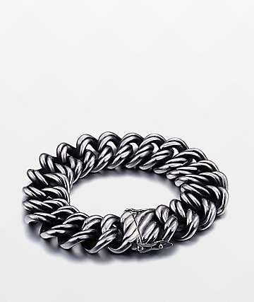 Half Hearted Ridged Cuban Stainless Steel Bracelet