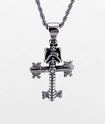 "Half Hearted Skeleton Key Cross 22"" Rope Chain Necklace"