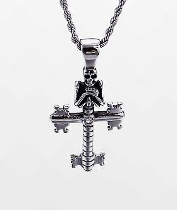 """Half Hearted Skeleton Key Cross 22""""collar de cadena de cuerda"""