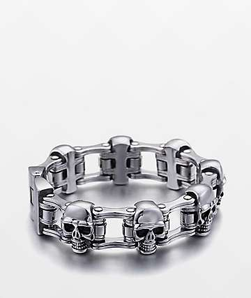 Half Hearted Skull Bike Link Stainless Steel Bracelet