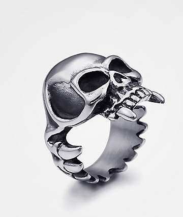 Half Hearted Skull Fang Ring