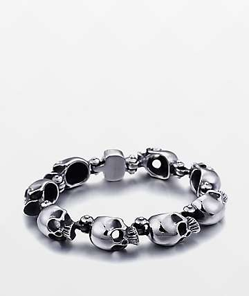 Half Hearted Skull Head Stainless Steel Bracelet