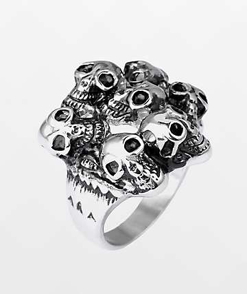 Half Hearted Skull Pile Ring
