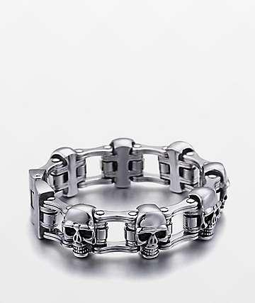 Half Hearted Skull pulsera de acero inoxidable de cadena de bicicleta