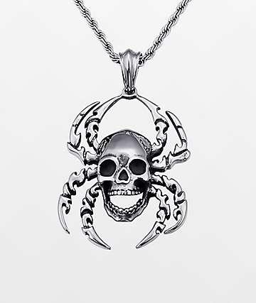 """Half Hearted Spider Skull 22"""" collar de cadena de cuerda"""