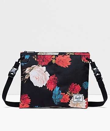 Herschel Supply Co. Alder Vintage Floral Black Crossbody Bag
