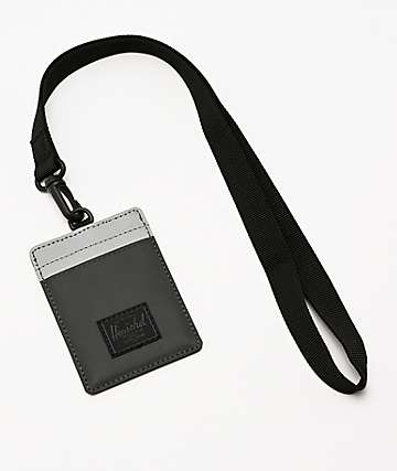 Herschel Supply Co. Charlie Black & Reflective Silver Lanyard Wallet