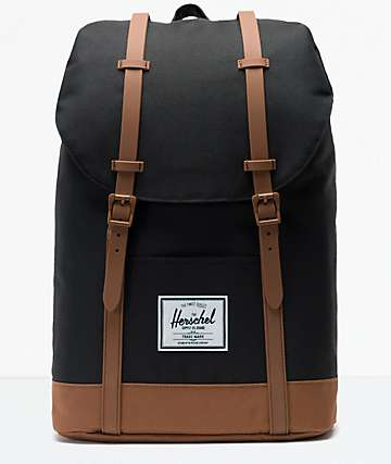 Herschel Supply Co. Retreat Black and Saddle Brown Backpack