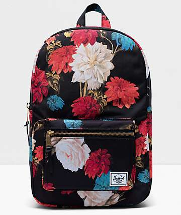 Herschel Supply Co. Settlement Mid Vintage Floral Black Backpack