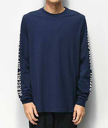 Herschel Supply Co. Sleeve Print Navy & White Long Sleeve T-Shirt